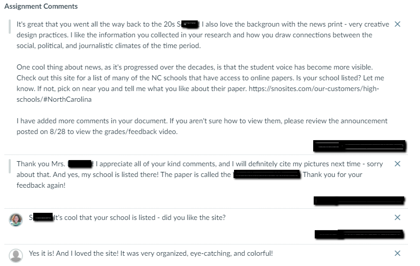 Screen shot of feedback on a student assignment.